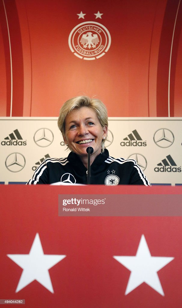 Head coach Sylvia Neid of Germany Women's National team during a press conference at Hardtwald stadion on October 24, 2015 in Sandhausen, Germany.
