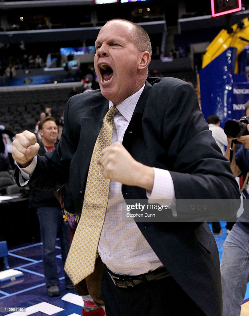 Head coach Tad Boyle of the Colorado Buffaloes celebrates after the game against the Oregon Ducks during the quarterfinals of the Pac12 Men's Basketball Tournament at Staples Center on March 8, 2012 in Los Angeles, California. Colorado won 63-62.
