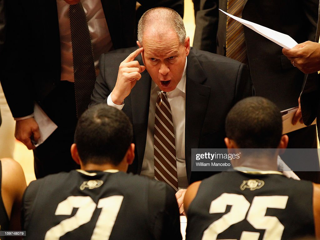 Head coach Tad Boyle of the Colorado Buffaloes gives direction to his team during the game against the Washington State Cougars at Beasley Coliseum on January 19, 2013 in Pullman, Washington.