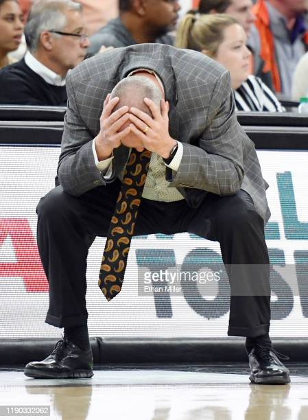 Head coach Tad Boyle of the Colorado Buffaloes reacts after his team was called for a foul against the Clemson Tigers during the MGM Resorts Main...