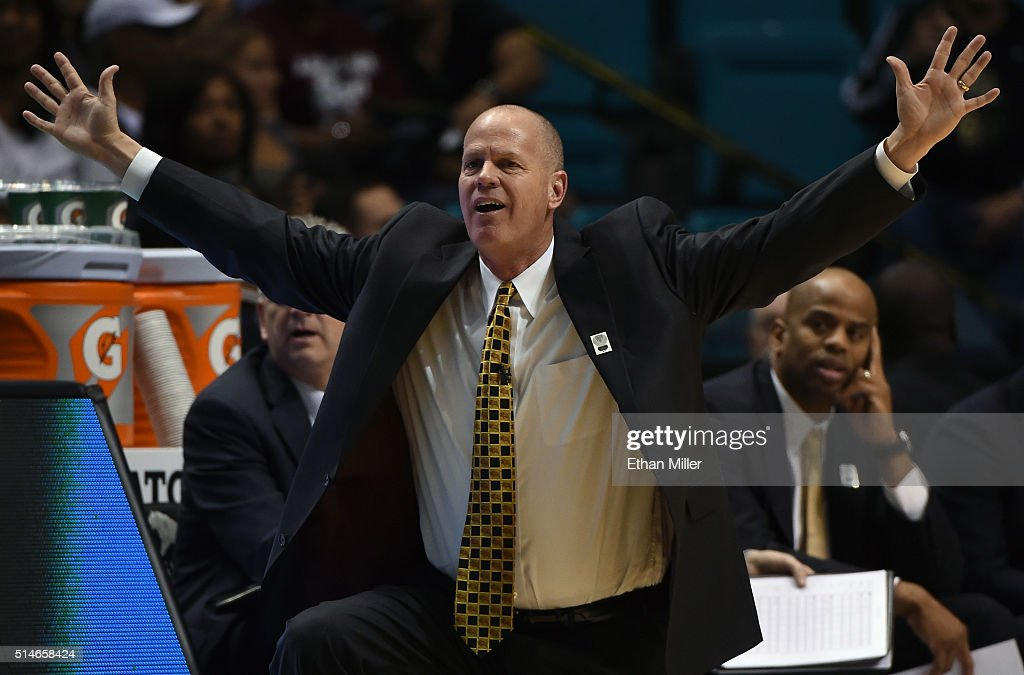 Head coach Tad Boyle of the Colorado Buffaloes reacts to an official's call during a first-round game of the Pac-12 Basketball Tournament against the Washington State Cougars at MGM Grand Garden Arena on March 9, 2016 in Las Vegas, Nevada. Colorado won 80-56.
