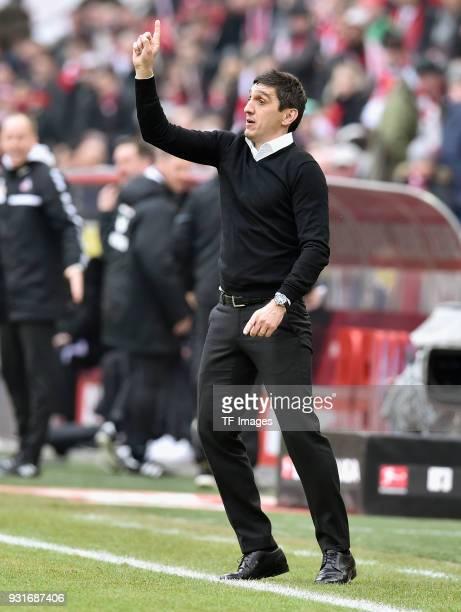 Head coach Taifun Korkut of Stuttgart gestures during the Bundesliga match between 1 FC Koeln and VfB Stuttgart at RheinEnergieStadion on March 4...
