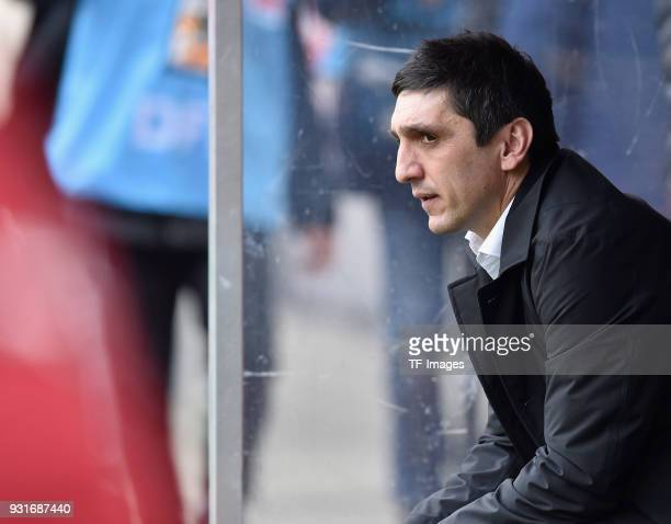 Head coach Taifun Korkut of Stuttgart looks on prior to the Bundesliga match between 1 FC Koeln and VfB Stuttgart at RheinEnergieStadion on March 4...