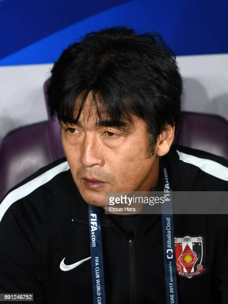 Head coach Takafumi Hori of Urawa Red Diamonds looks on prior to the FIFA Club World Cup UAE 2017 Match for 5th Place between Wydad Casablanca and...