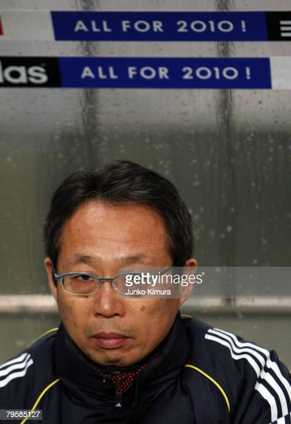 Head coach Takeshi Okada is seen during the 2010 FIFA World Cup Asia 3rd preliminary round match between Japan and Thailand at Saitama Stadium 2002...