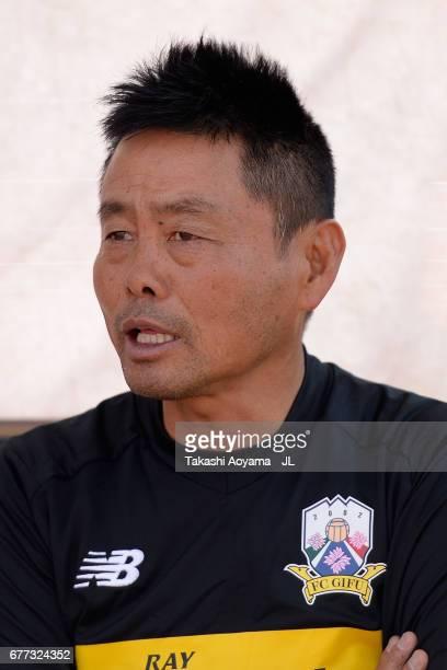 Head coach Takeshi Oki of FC Gifu looks on prior to the JLeague J2 match between Thespa Kusatsu Gunma and FC Gifu at Shoda Shoyu Stadium on May 3...