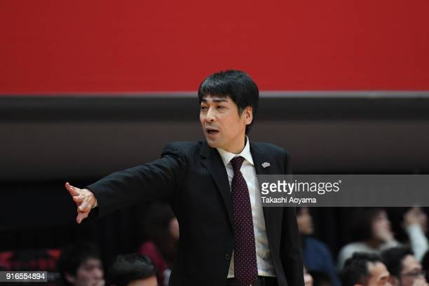 Head Coach Takuya Kita of the Kawasaki Brave Thunders gestures during the BLeague match between Alverk Tokyo and Kawasaki Brave Thunders at the Arena...