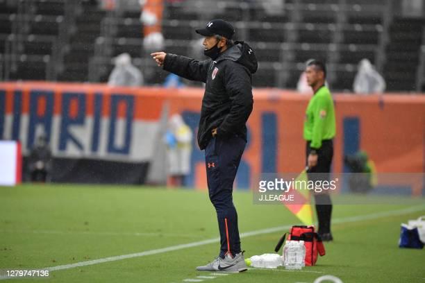 Head coach Takuya Takagi of Omiya Ardija gives instruction during the J.League Meiji Yasuda J2 match between Omiya Ardija and Tochigi SC at NACK5...
