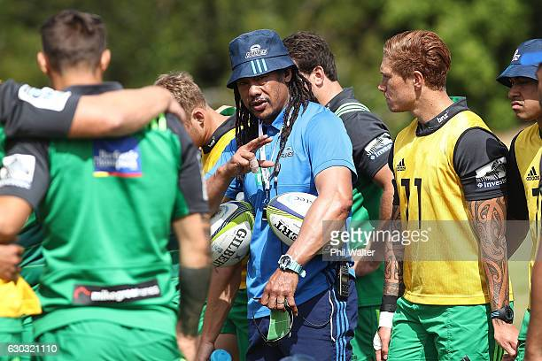 Head coach Tana Umaga during an Auckland Blues Super Rugby preseason training camp at the Kumeu Rugby Club on December 21 2016 in Auckland New Zealand