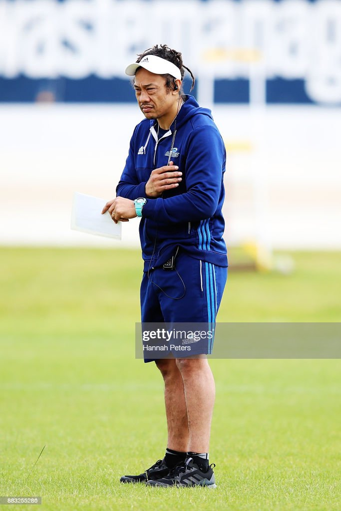 Head coach Tana Umaga looks on during an Auckland Blues Super Rugby pre season training session ahead of the 2018 Investec Super Rugby Championship at Alexandra Park on December 1, 2017 in Auckland, New Zealand.
