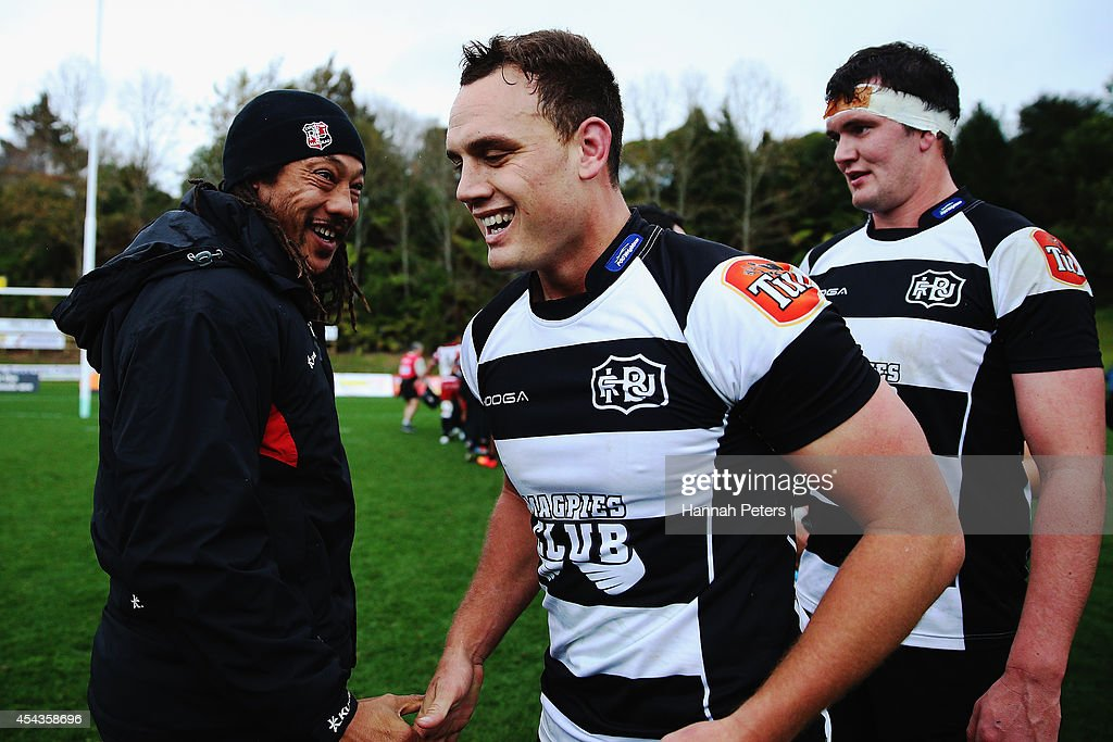 Head coach Tana Umaga of Counties Manukau congratulates Israel Dagg of the Hawke's Bay Magpies after winning the ITM Cup rugby game between the Counties Manukau Steelers and the Hawke's Bay Magpies at ECOLight Stadium on August 30, 2014 in Pukekohe, New Zealand.