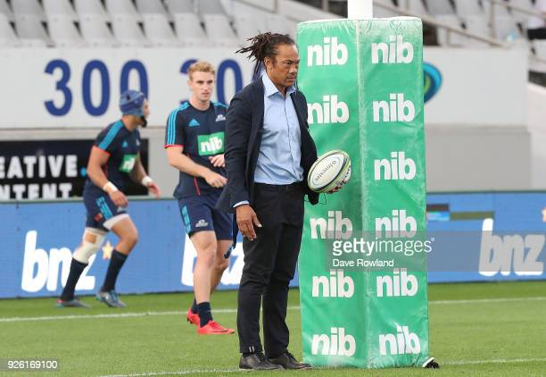 Head Coach Tana Umaga of the Blues before the round two Super Rugby match between the Blues and the Chiefs at Eden Park on March 2 2018 in Auckland...