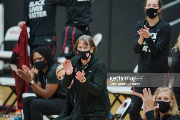 Head Coach Tara VanDerveer of Stanford cheers her players during a game between Stanford and Pacific at Alex G. Spanos Center on December 15, 2020 in...
