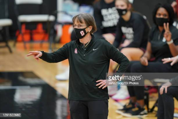 Head Coach Tara VanDerveer of Stanford instructs her players during a game between Stanford and Pacific at Alex G. Spanos Center on December 15, 2020...