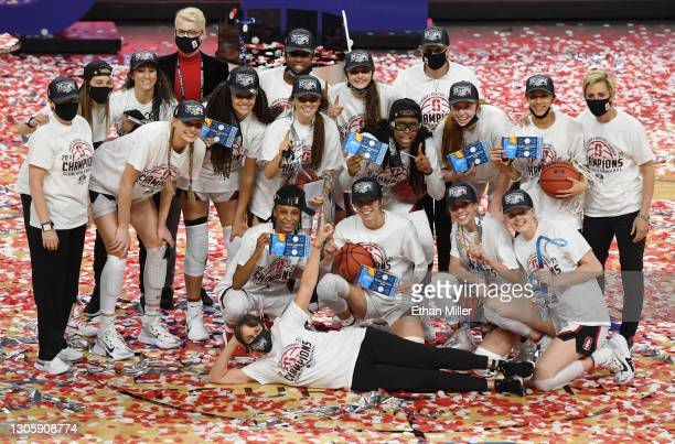 Head coach Tara VanDerveer of the Stanford Cardinal and her team celebrate on the court after their 75-55 victory over the UCLA Bruins to win the...