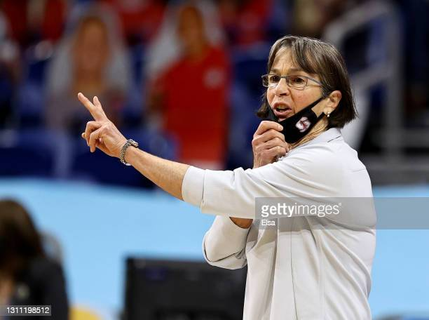 Head coach Tara VanDerveer of the Stanford Cardinal directs her team during the National Championship game of the 2021 NCAA Women's Basketball...
