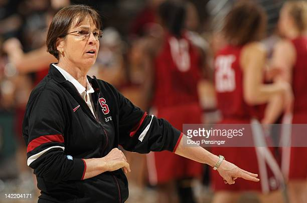 Head coach Tara VanDerveer of the Stanford Cardinal leads practice prior to the NCAA Women's Basketball Tournament Final Four at Pepsi Center on...