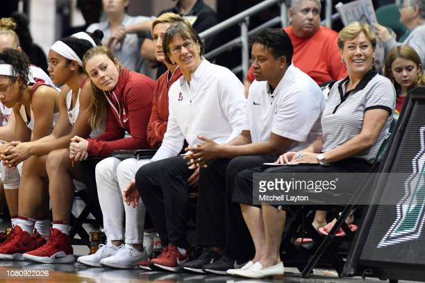 Head coach Tara VanDerveer of the Stanford Cardinal looks on during a Rainbow Wahine Showdown women's college basketball game against the American...