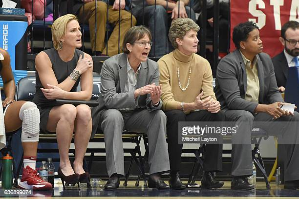 Head coach Tara VanDerveer of the Stanford Cardinal looks on during a college basketball game against the George Washington Colonials at the Smith...
