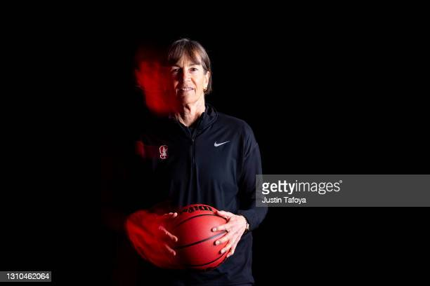 Head coach Tara VanDerveer of the Stanford Cardinal poses during media day during the NCAA Women's Basketball Tournament at Henry B. González...