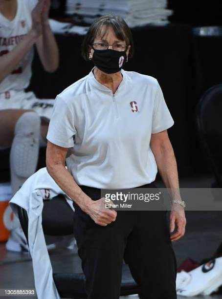 Head coach Tara VanDerveer of the Stanford Cardinal reacts as her team takes on the UCLA Bruins during the championship game of the Pac-12 Conference...