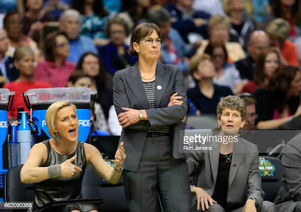 Head coach Tara VanDerveer of the Stanford Cardinal reacts from the sideline in the first half against the South Carolina Gamecocks during the...