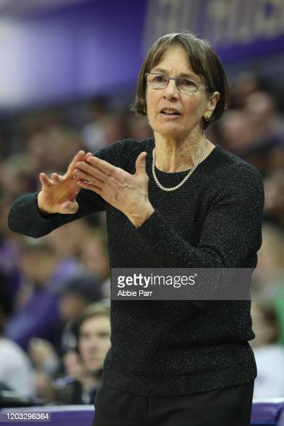 Head Coach Tara VanDerveer of the Stanford Cardinal reacts in the fourth quarter against the Washington Huskies during their game at Hec Edmundson...