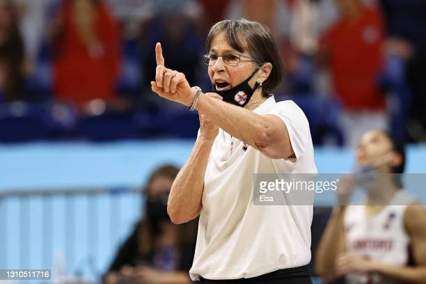 Head coach Tara VanDerveer of the Stanford Cardinal signals to players against the South Carolina Gamecocks during the fourth quarter in the Final...