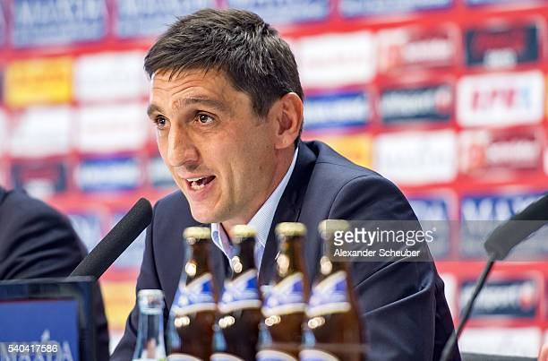 Head coach Tayfun Korkut during the new head coach press conference at FritzWalterStadion on June 15 2016 in Kaiserslautern Germany