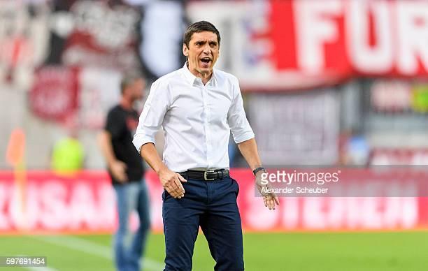 Head coach Tayfun Korkut of FC Kaiserslautern reacts during the Second Bundesliga match between 1 FC Kaiserslautern and Fortuna Duesseldorf at...