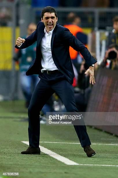 Head coach Tayfun Korkut of Hannover celebrates after the Bundesliga match between Borussia Dortmund and Hannover 96 at Signal Iduna Park on October...