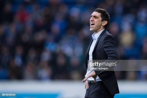 Head coach Tayfun Korkut of Leverkusen gestures reacts the Bundesliga match between TSG 1899 Hoffenheim and Bayer 04 Leverkusen at Wirsol...