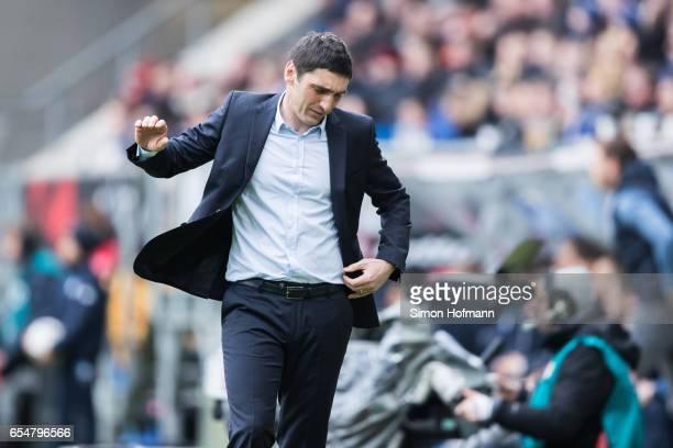Head coach Tayfun Korkut of Leverkusen reacts during the Bundesliga match between TSG 1899 Hoffenheim and Bayer 04 Leverkusen at Wirsol...