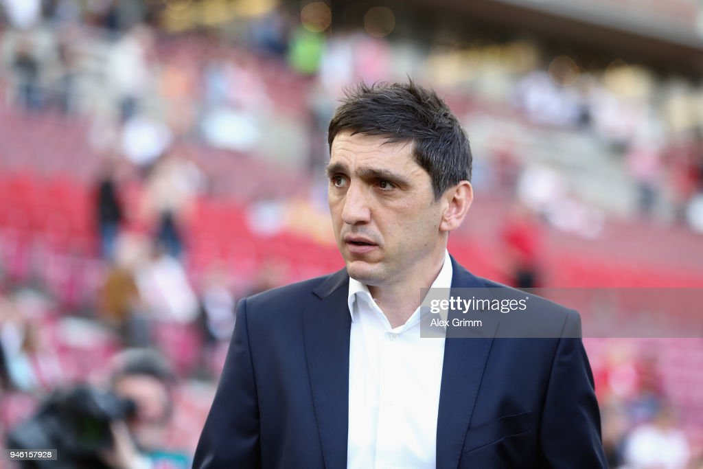 Head coach Tayfun Korkut of Stuttgart looks on prior to the Bundesliga match between VfB Stuttgart and Hannover 96 at Mercedes-Benz Arena on April 14, 2018 in Stuttgart, Germany.