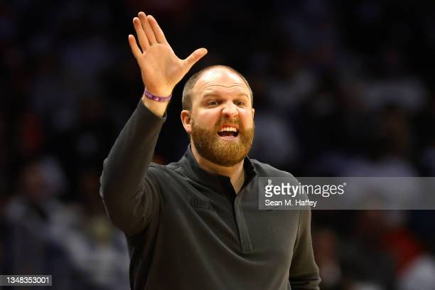 Head Coach Taylor Jenkins of the Memphis Grizzlies calls a play during the second half of a game against the LA Clippers at Staples Center on October...