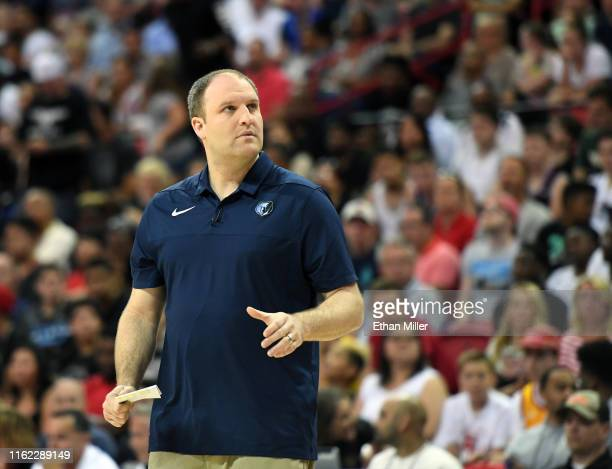Head coach Taylor Jenkins of the Memphis Grizzlies looks on as his team takes on the Minnesota Timberwolves in the championship game of the 2019 NBA...