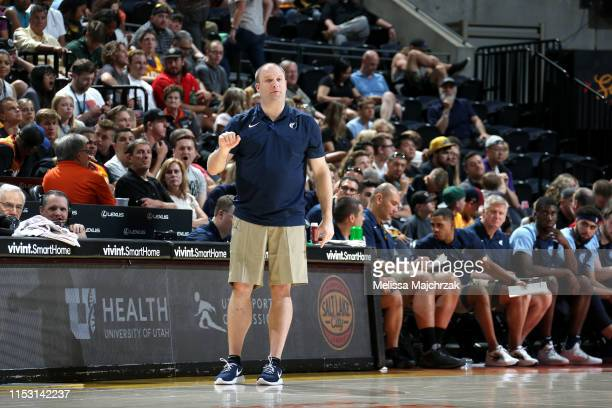 Head Coach Taylor Jenkins of the Memphis Grizzlies looks on during the game against the Utah Jazz on July 1 2019 at vivintSmartHome Arena in Salt...
