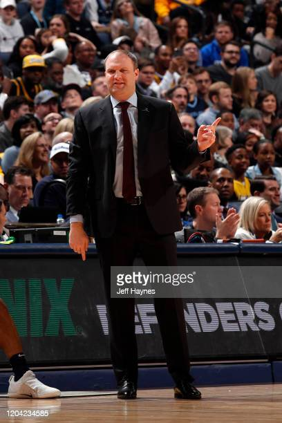 Head Coach Taylor Jenkins of the Memphis Grizzlies looks on during the game against the Los Angeles Lakers on February 29 2020 at FedExForum in...