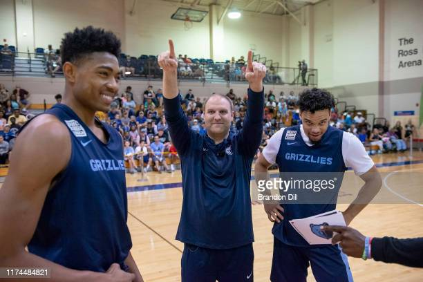 Head Coach Taylor Jenkins of the Memphis Grizzlies makes a call at the Memphis Grizzlies Open Practice on October 5 2019 at Memphis University School...