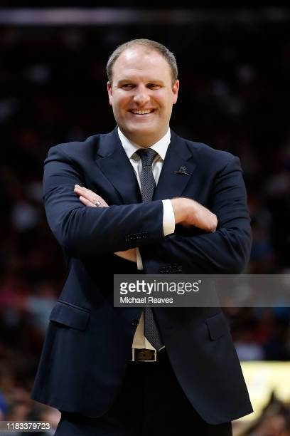 Head coach Taylor Jenkins of the Memphis Grizzlies reacts against the Miami Heat during the second half at American Airlines Arena on October 23 2019...