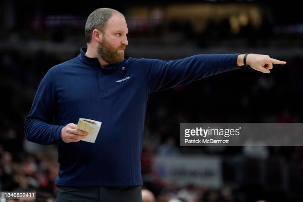 Head coach Taylor Jenkins of the Memphis Grizzlies reacts against the Chicago Bulls in the first half during a preseason game at United Center on...