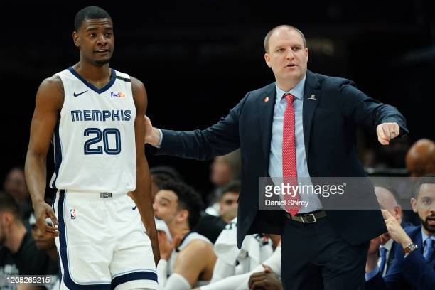 Head coach Taylor Jenkins of the Memphis Grizzlies sends Josh Jackson into the game against the Memphis Grizzlies during the second half at Golden 1...