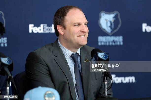 Head Coach Taylor Jenkins of the Memphis Grizzlies speaks at a press conference on June 21 2019 at FedExForum in Memphis Tennessee NOTE TO USER User...