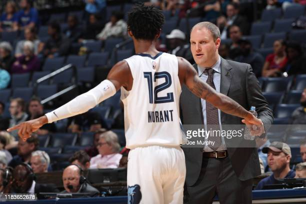 Head Coach Taylor Jenkins of the Memphis Grizzlies talks with Ja Morant of the Memphis Grizzlies during the game against the Golden State Warriors on...