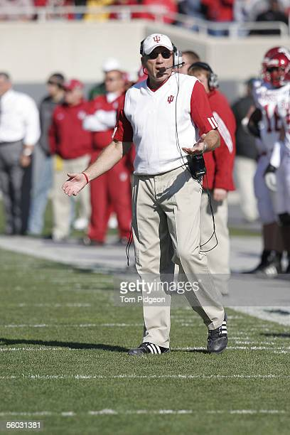 Head Coach, Terry Hoeppner of Indiana, reacts to a play against Michigan State on October 29, 2005 at Spartan Stadium in East Lansing, Michigan....
