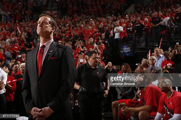 Head coach Terry Stotts of the Portland Trail Blazers before Game Three of the Western Conference Quarterfinals against the Memphis Grizzlies during...