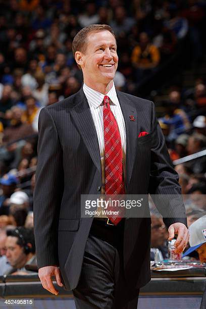 Head coach Terry Stotts of the Portland Trail Blazers coaches against the Golden State Warriors on November 23 2013 at Oracle Arena in Oakland...