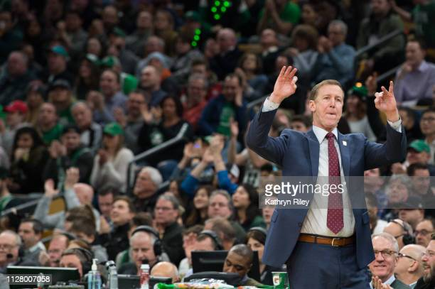 Head coach Terry Stotts of the Portland Trail Blazers during the game against the Boston Celtics at TD Garden on February 27 2019 in Boston...