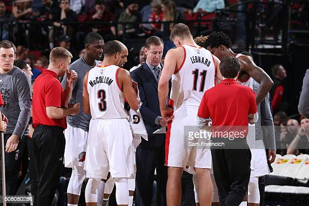 Head coach Terry Stotts of the Portland Trail Blazers during the game against the Milwaukee Bucks on February 2 2016 at Moda Center in PortlandOregon...