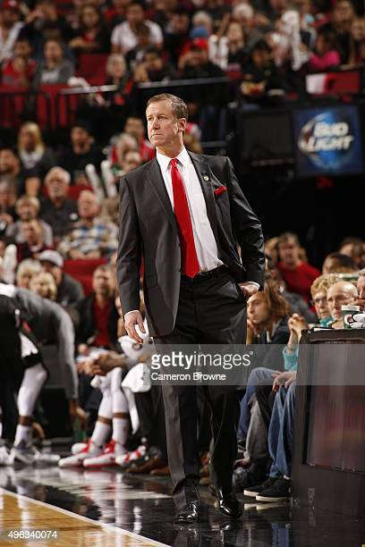 Head Coach Terry Stotts of the Portland Trail Blazers looks on during the game against the Detroit Pistons on November 8 2015 at the Moda Center in...